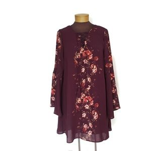Maroon Floral Bell Sleeve Tunic Top Dress large